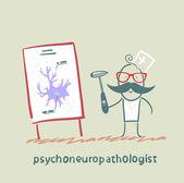 Psychoneuropathologist posiada młotka i mówi prezentacji na komórki nerwowe — Wektor stockowy