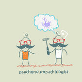 Psychoneuropathologist speaks with the patient about the nerve cells — Stock Vector