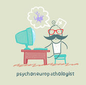 Psychoneuropathologist sits on the workplace — Stock Vector