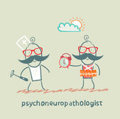Psychoneuropathologist stands next to a man with a bomb — Stock Vector