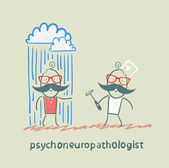 Psychoneuropathologist stands next to a nervous patient on whom pouring rain — Stock Vector