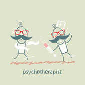 Psychotherapist with a syringe catching up with the crazy — Stock Vector