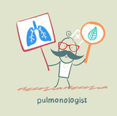 Pulmonologist holding posters with the image of the lungs — Stock Vector