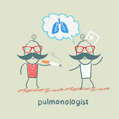 Pulmonologist pulmonologist says lung patient who smokes — Stock Vector