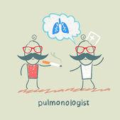 Pulmonologist pulmonologist says lung patient who smokes — 图库矢量图片