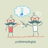 Pulmonologist speaks to patients — Stock Vector
