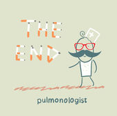 """Pulmonologist from cigarettes to put the words """" the end"""" — Stock Vector"""