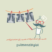 Pulmonologist shows an X-ray of human lung — Stock Vector