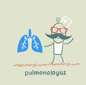Pulmonologist is standing next to a person's lungs — Stockvector