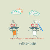 Reflexologist with a needle catches patient — Stockvector