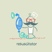 Resuscitation with oxygen mask — Stock Vector