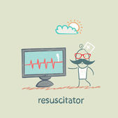Resuscitation is a monitor shows the heartbeat — Stock Vector