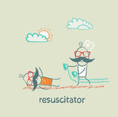 Resuscitation in a hurry to sick patient — Stock Vector