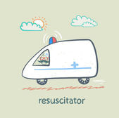 Resuscitator rides in the ambulance — Stock Vector