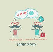 Somnology rozmawia z pacjentem o choroby i tabletki — Wektor stockowy
