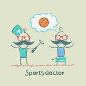 Sports doctor checking the reflexes of an athlete — Stock Vector