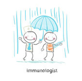 Immunologist umbrella covers the patient — Stock Vector