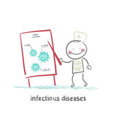 Infectious diseases specialist says a presentation on infection — Stock Vector