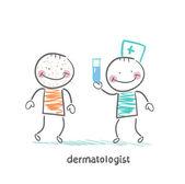 Dermatologist giving medicine patient — Stock Vector