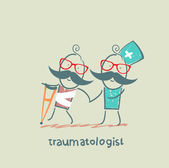 Traumatologist helps the patient with trauma — Stock Photo