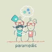 Paramédico estetoscópio escuta ao paciente diz sobre bacté — Fotografia Stock