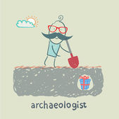 Archaeologist stands on the spot where buried gift — Stock Vector