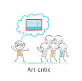 Art critic tells people about the picture — Stock Vector