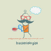 Bacteriologist looks through a magnifying glass on microbes — Stock Vector
