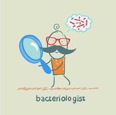 Bacteriologist looks through a magnifying glass on germs and thinks of them — Stock Vector