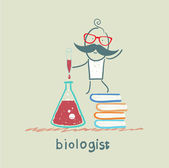 Biologist holding a test tube and stands on a pile of books — Stock Vector