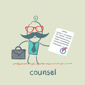 Counsel shows the document — Stock Vector