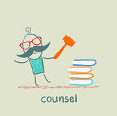 Counsel knocking on the books — Stock Vector