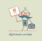 Diplomatic worker holds a placard with exclamation marks — Stock Vector