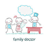 Family doctor treats the mother, father and child — Stock Vector