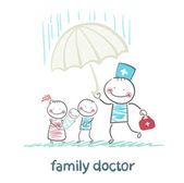 Family doctor holding an umbrella from the rain on her mother, father and child — Stock Vector