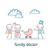 Family doctor treats the father, mother and baby — Stock Vector
