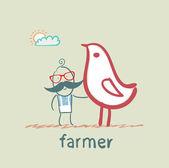 Farmer next to the chicken — Stock Vector