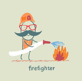Firefighter puts out fire — Wektor stockowy