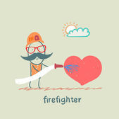 Firefighter extinguishes heart — Stock Vector
