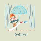 Firefighter stands in the rain with an umbrella — Stock Vector