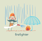 Firefighter stands in the rain and extinguish the fire under the umbrella — Stock Vector