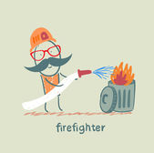 Firefighter puts out the trash — Stock Vector
