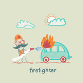 Firefighter extinguishes a car — Stock Vector