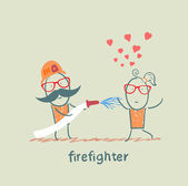 Firefighter extinguishes a girl who fell in love — Stock Vector