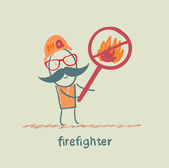 Fireman holding the sign ban on fire — Stock Vector