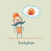 Firefighter thinks about fire — Stock Vector