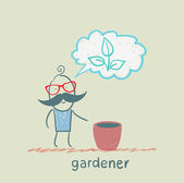Gardener thinks of a beautiful plant — Stock Vector
