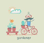 gardener carries a bicycle plant — Stock Vector