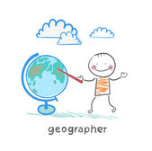 Geographer shows on the globe — Stock Vector