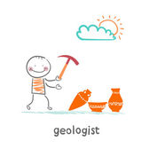 Geologists hold a hammer and stands near the ancient utensils — Stock Vector